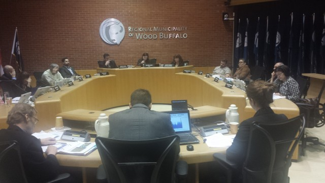 Council listens to an administration presentation finding no legal liability for 2015 Timberlea flood on April 26, 2016 // Chris Vandenbreekel - Harvard Broadcasting