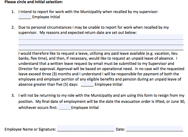 The RMWB intent-to-work form gives employees three options // Submitted anonymously to Harvard newsroom