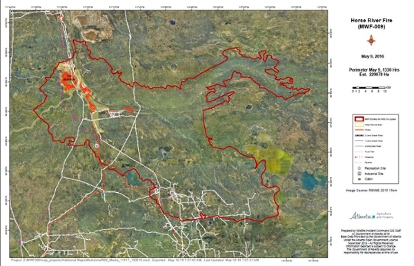 Map supplied by Alberta Wildfire