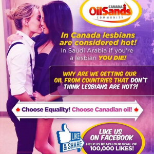 Robbie Picard posted this controversial ad on his Canadian Oil Sands Community page